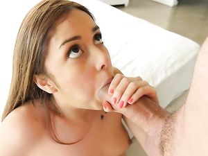 Teen Opens Her Shaved Pussy So He Can Fuck It