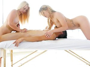 Blondes On The Massage Table Suck His Big Dick