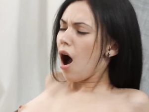 Dark Haired Dick Riding Teen Takes A Big Creampie