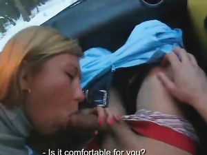 Turtleneck Babe Gives Him A Car Blowjob