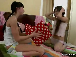 Kissing Teen Girlfriends Get Out The Big Dildo