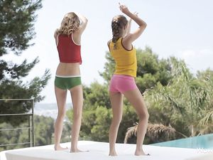 Teen Girlfriends Oil Each Other Up Erotically