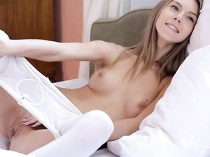 White Pantyhose Masturbation From The Perfect Teen
