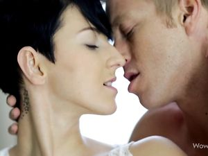 Short Hair Teen Beauty Indulges In Lusty Foreplay