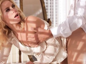 Bent Over Blonde Beauty Loves Doggystyle Sex