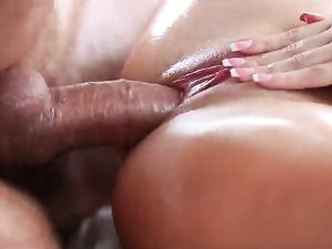 Creampie Inside The Oiled Up Babe With Big Tits