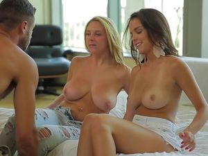 Big Perky Tits On Babes Fucking In A Great Threesome
