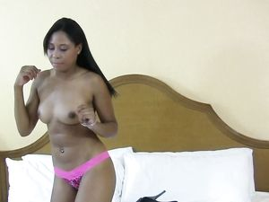 Ebony Babe Getting A Facial After Rough Fucking